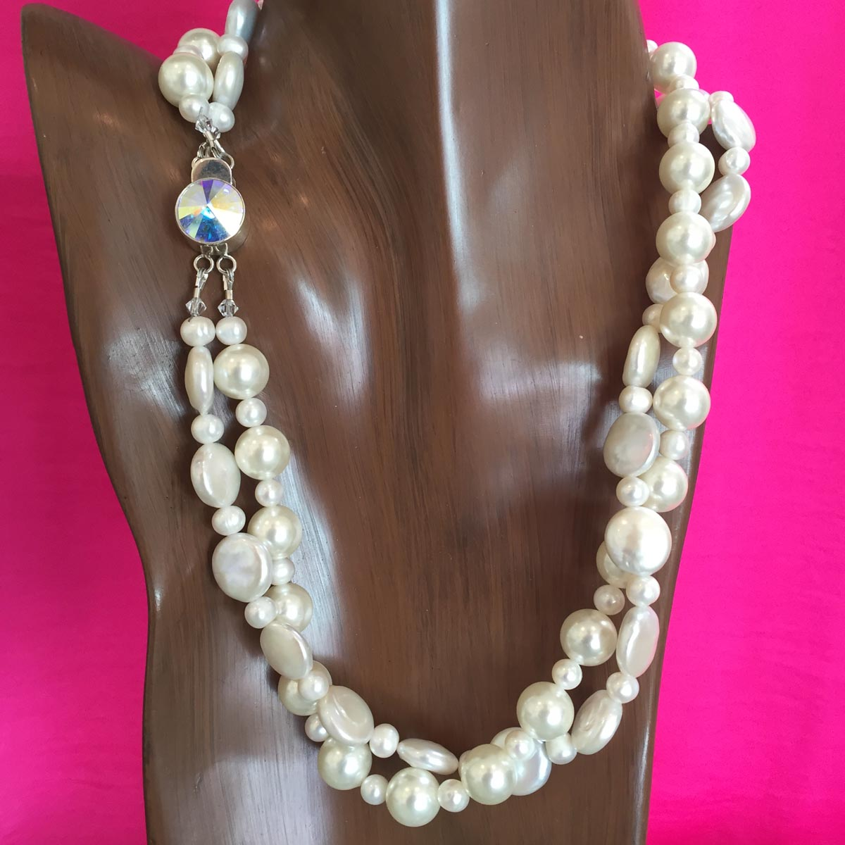 white pearl necklace with soin amp freshwater pearls and