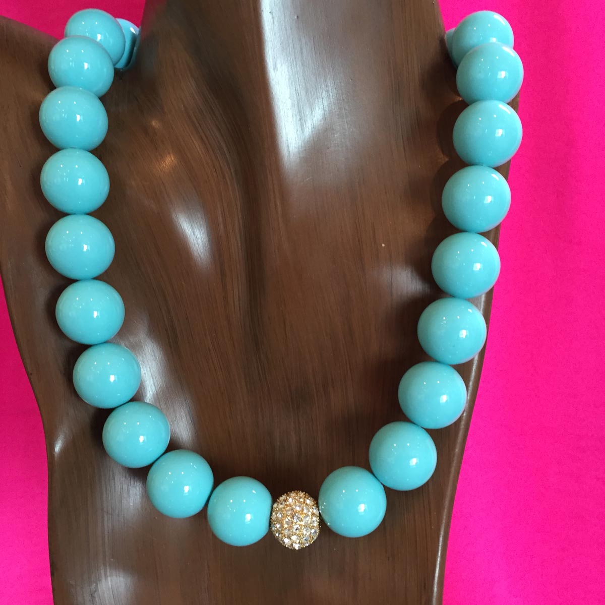 5869 Turquoise Shell Pearl 18 mm Necklace with Rhinestone Clasp 21 inches $1400.jpg