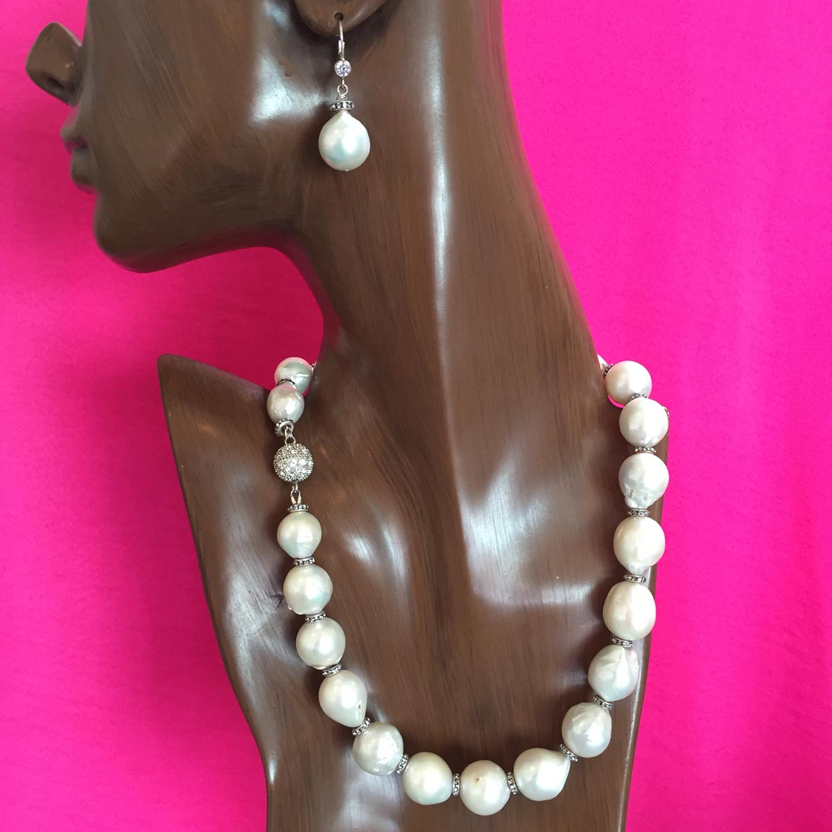 #6707 White Baroque Pearl Necklace with Silver and Rhinestone Spacers with Matching Earrings $2000