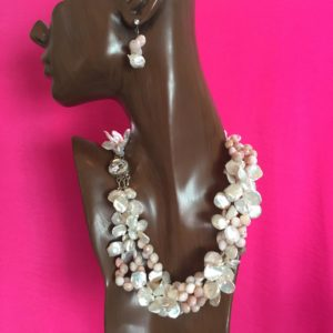 6838 Keshi White Pearl and Rose Opal 3 Strand Necklace & Earrings $2000